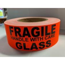 "Label 2"" x 5"" FRAGILE GLASS  Fl.Red (500/rl)"